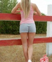 Sexy blonde farm girl